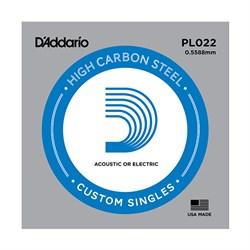 PL022 Plain Steel Отдельная струна без обмотки, сталь, .022, D'Addario