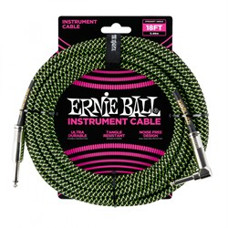 ERNIE BALL 6082 кабель оплетёный, 5,49 м, чёрно-зелёный