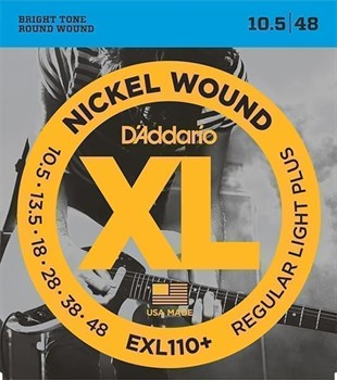 EXL110+ Nickel Wound Комплект струн для электрогитары, Regular Light Plus, 10.5-48, D'Addario