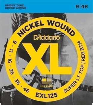 EXL125 XL NICKEL WOUND Струны для электрогитары Super Light Top/Regular Bottom 9-46 D`Addario