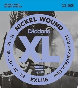 EXL116 XL NICKEL WOUND Струны для электрогитары Meduim 11-52 D`Addario