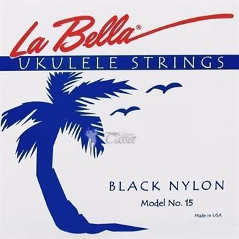 15-BLACK Комплект струн для укулеле сопрано La Bella (черный нейлон)