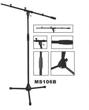 VESTON MS106B - стойка микр., журавль, черная, высота 100-176