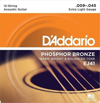 D`Addario EJ41 .009 - .045, для 12-ти струнной гитары