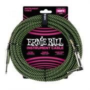 ERNIE BALL 6077 - кабель, 3,05 м, черный/зеленый