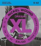 EXL120 XL NICKEL WOUND Струны для электрогитары Super Light 9-42 D`Addario